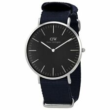 DANIEL WELLINGTON Cornwall 40mm Silver Black Nylon Band Men's Watch DW00100149
