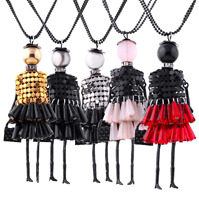 Women Crystal Unique Cute Doll Pendant Collar Long Sweater Chain Necklace