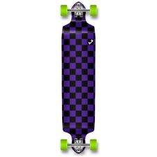 Yocaher Drop Down Longboard Complete - Checker Purple