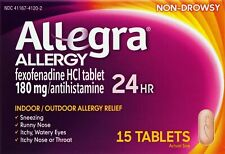 Allegra Allergy 24 Hour Relief Non Drowsy 15 Tablets exp...