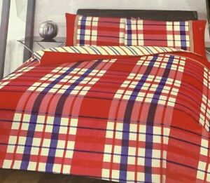 Soft Duvet Cover Set With Pillowcase Tartan Check Red Single Size