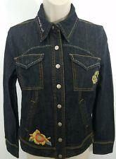 NEW BORN BAREFOOT DENIM JEANS JACKET EMBROIDERED SZ M DARK BLUE 1107