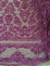 """PURPLE  BEADED & SEQUINS BRIDAL LACE CORDED FABRIC 50"""" WIDE 1 YD"""