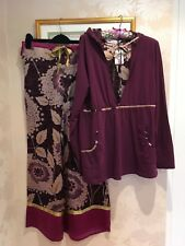 MONSOON Burgundy Gold Pyjamas SILK Lounge Pants Hoodie Top Medium 12 14 BNWT