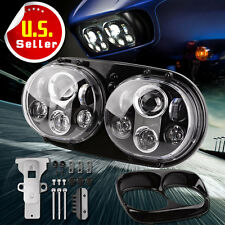 Dual LED Headlight 90W Hi/Lo Beam  Road Glide Assembly For Harley-Davidson