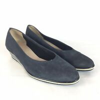 SALVATORE FERRAGAMO 6.5 Heels Wedge Navy Leather Suede Italy