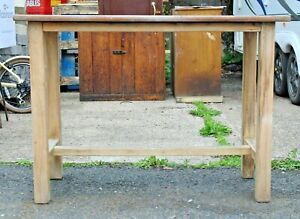Vintage laboratory table home schooling kitchen art craft solid beech Remploy