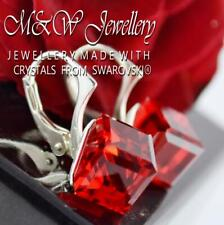 925 Sterling Silver Earrings CUBE 8mm - Light Siam Crystals From Swarovski®