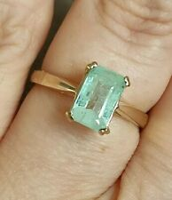 💚Natural 1.7ct Columbian emerald solitaire ring solid 9ct gold size N 7💚