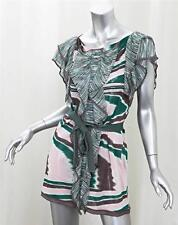 MISSONI Womens Green+Pink Knit Abstract Striped Ruffle Belted Mini Dress 42/6