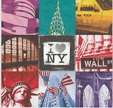 2 Serviettes en papier New York Patchwork Decoupage Paper Napkins Capiltale