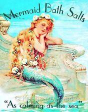 Vintage Mermaid Bath Salts Ad Fabric Quilt Block FrEe ShiPpinG WoRld WiDe c