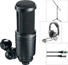 Audio Technica AT 2020 Studio Kondensator Mikrofon mit Kopfhörer Kabel Stativ
