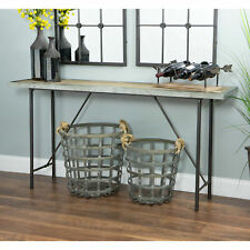 Industrial Metal Console Table Display Shelf Storage Wood Tabletop Furniture NEW