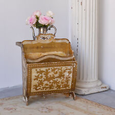 Florentine Italianate Magazine Table With Tray Side Table Storage Gold Cream
