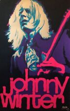 Johnny Winter Original Vintage Blacklight Poster 1970's Music Pin-up Beeghly