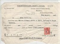 Northumberland County Council 1933 Two Pounds Maintenance Stamp Receipt Rf 39006