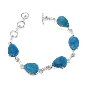 Blue Titanium Druzy Gemstone Fashion Jewelry Bracelet 7 s587