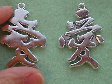 5 Chinese character love pendants charms words tibetan silver charms wholesale