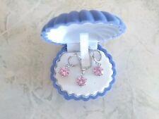 Collana e orecchini parure con pietre ROSA luminose argento925 NUOVI swarovski