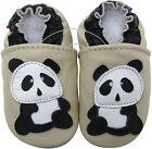 carozoo panda cream 6-12m soft sole leather baby shoes