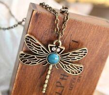 sautoir collier pendentif libellule bronze et turquoise. Top tendance