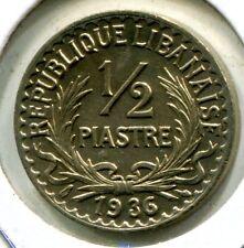 Lebanon 1936 1/2 Piastre, KM#9, AU