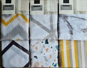 Marble Effect Geo Terrazzo Chevron Ochre Grey Polyester Shower Curtain 180x180cm