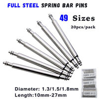 20pcs 1.3mm 1.5mm 1.8mm Full Stainless Steel Watch Strap Spring Bar Pins 10-27mm