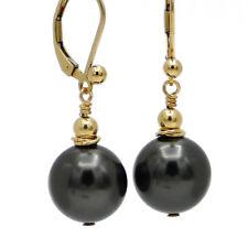 TAHTI FEELING ● 12mm ●  SC Perlen Ohrringe anthrazit schwarz ygf 14k Gold 585