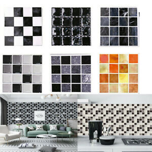 30X Self-Adhesive Kitchen Wall Tiles Bathroom Mosaic Brick Sticker Peel & Stick