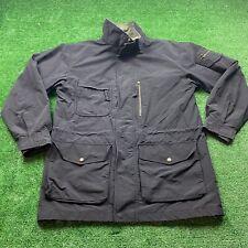 Eddie Bauer Vintage Men's Medium Black Nylon Cotton Jacket Pockets Long EUC