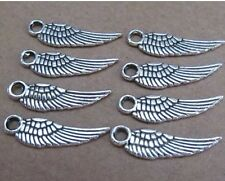 10pcs 5*17mm tibetan silver feather charm double-sided wholesale