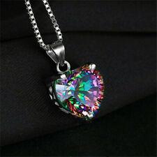 Romantic Rainbow Heart Pendant Silver Necklace Gift Jewelry Chain Topaz 925 Fine