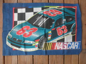 NASCAR Pillow Case Car Number 53 and 63 Blue Green Red Craft Fabric Material
