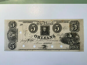 1850 $5 Bank of Orleans Albion New York Safety Fund Counterfeit Proof Obsolete
