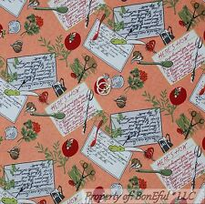 BonEful Fabric Cotton Quilt VTG Orange Green Vegetable Red Tomato Kitchen SCRAP