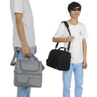 Two Layers Picnic Cooler Bag Lunch Box Wine Insulated Travel Pack Food Tote