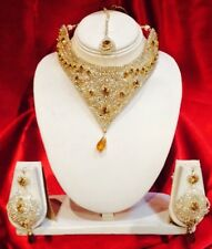 Bollywood Indian Bridal Necklace Earrings Tikka Jewellery Set White Brown M37