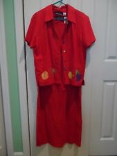 Woman's size 12 Linen Blend @ Piece Red Jacket & Long Dress with Fruit