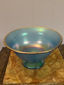 Vintage Blue Iridescent Glass Compote With Gold Trim