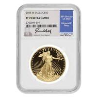 2015 W 1 oz $50 Proof Gold American Eagle NGC PF 70 UCAM (Edmund Moy Sign Label)