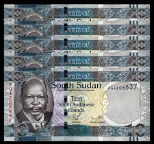 SOUTH SUDAN 10 POUNDS 2011, UNC, 5 PCS CONSECUTIVE LOT, P-7