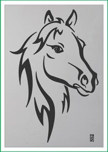 A4 A3 A5 Stylized Horse airbrush paint spray Reusuable stencil Premium mylar