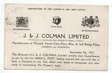 More details for 9th sept 1911 sepia pc to leeds first united kingdom aerial post colmans advert