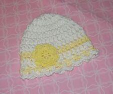 Handmade Crochet Baby Girl Hat  White & Yellow flower Newborn 3 Months