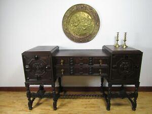 English Jacobean Oak and Ebony Sideboard 1900s Carved Angels Putti Barley Twist