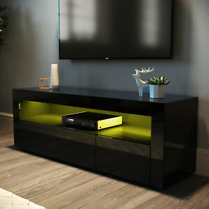 TV Unit Entertainment Media LED Cabinet Modern High Gloss Stand Living Room Set