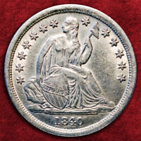 1840-O LIBERTY SEATED SILVER DIME *NO DRAPERY*, PCGS AU55, MUCH BETTER COIN!!!