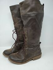 Rocketdog Tall Boots Women's Leather Brown Lace Front - US 10